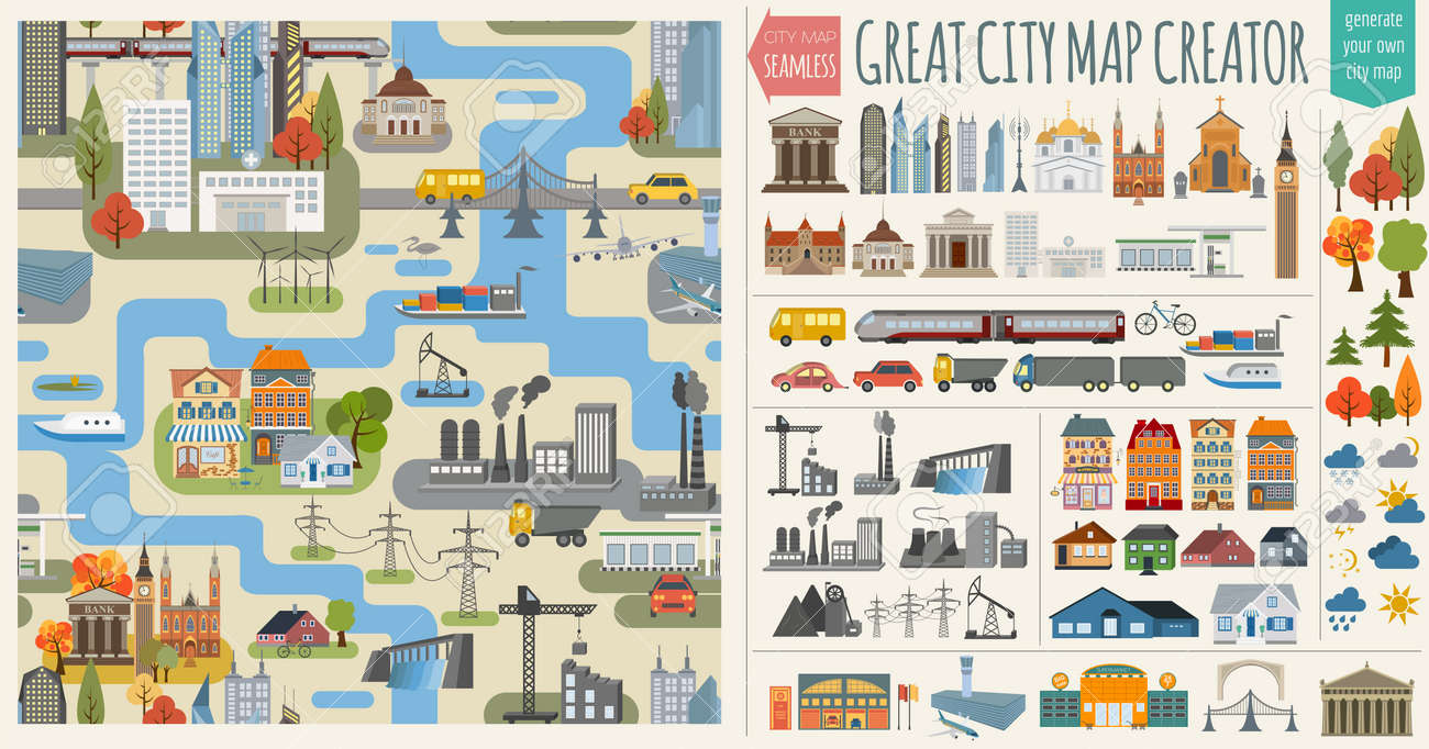 Great city map creator.Seamless pattern map and  Houses, infrastructure, industrial, transport, village and countryside set. Make your perfect city. Vector illustration Stock Vector - 46501620