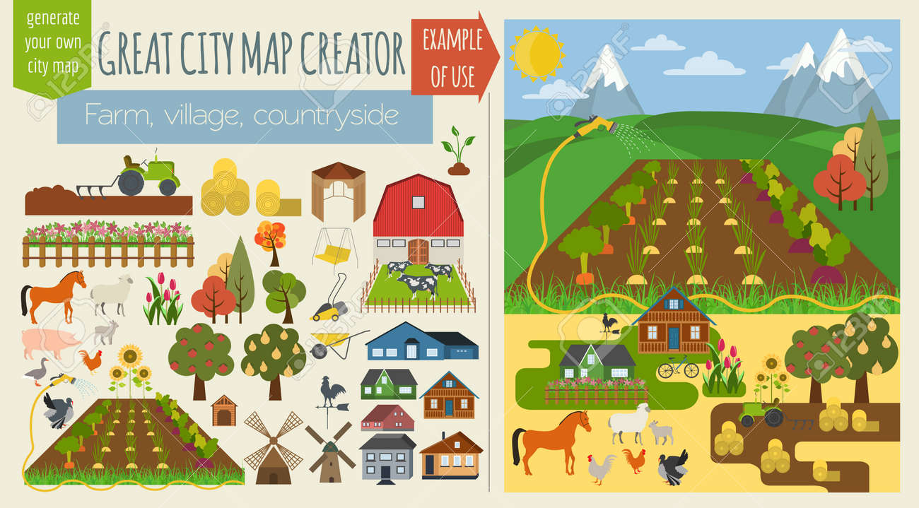 Great City Map CreatorSeamless Pattern Map Village Farm - Free us map creator