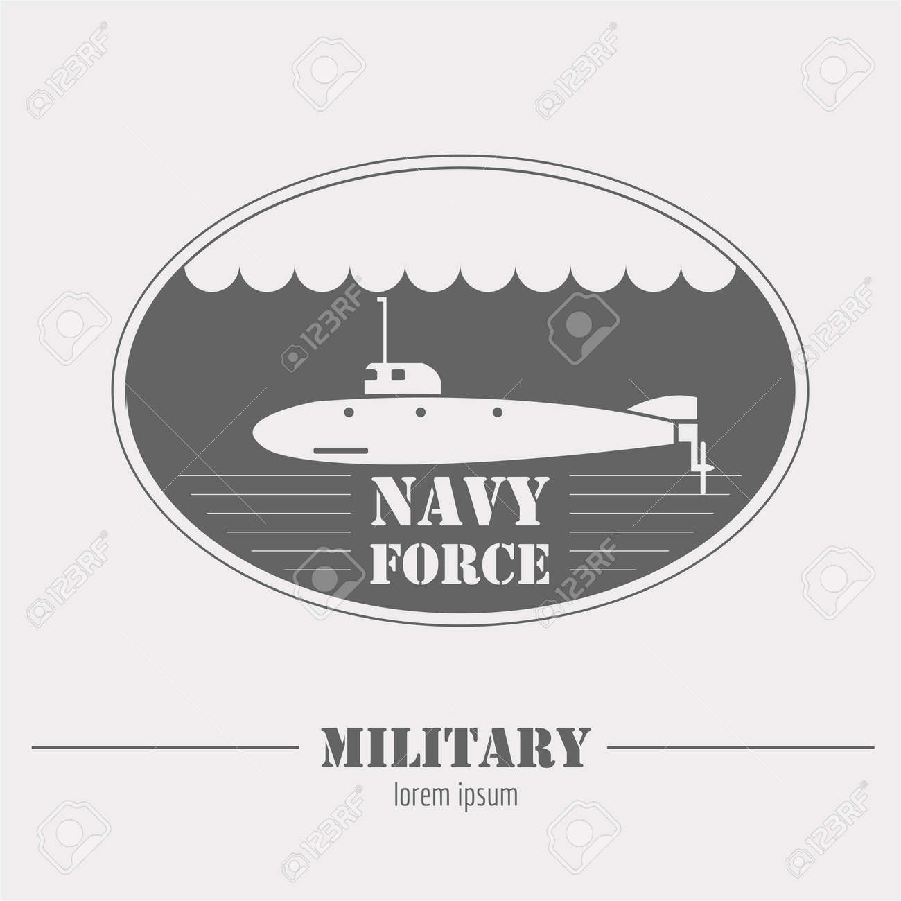 military logo navy force submarine graphic template vector
