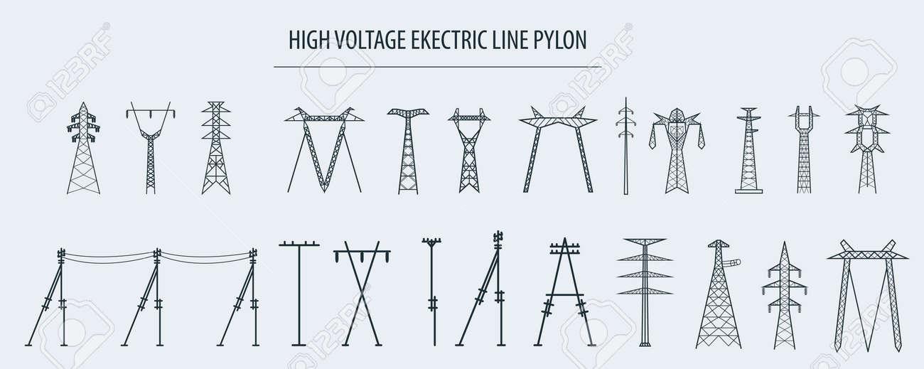 High voltage electric line pylon. Icon set suitable for creating infographics. web site content etc. Vector illustration - 60968211