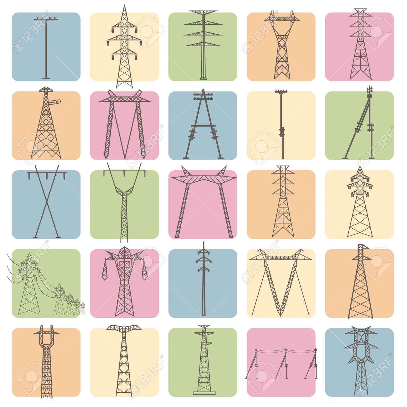 Elektrische Hochspannungsmasten. Icon-Set Passend Für Infografiken ...