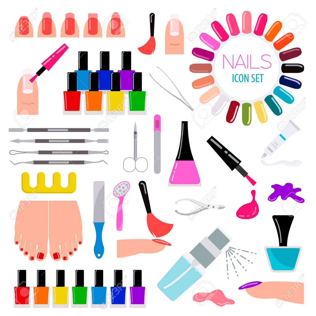 Manicure, Nail Salon. Icon Set. Vector Illustration Royalty Free ...