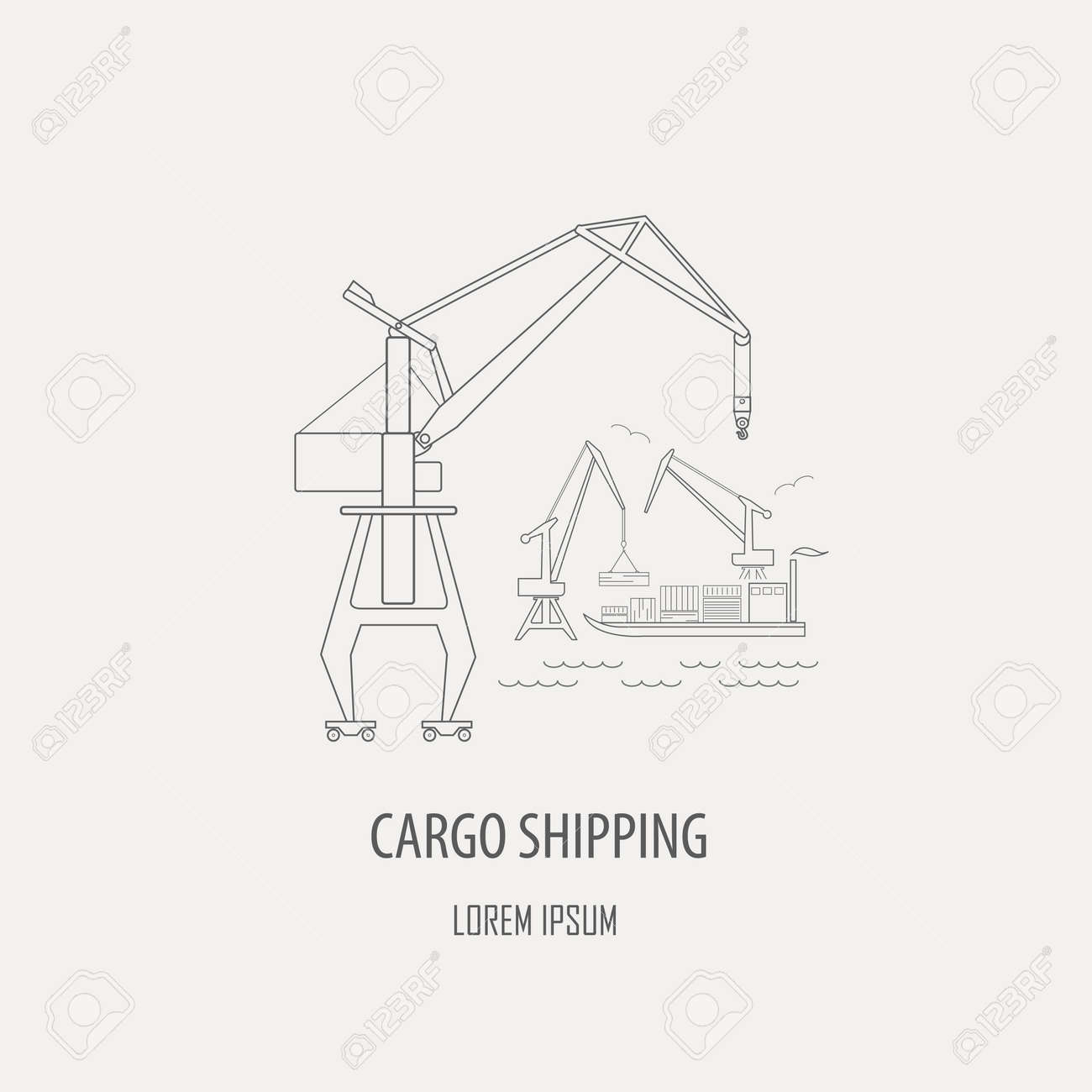 Crane And Lifting Machine Logo And Badge Template Outline Simple ...