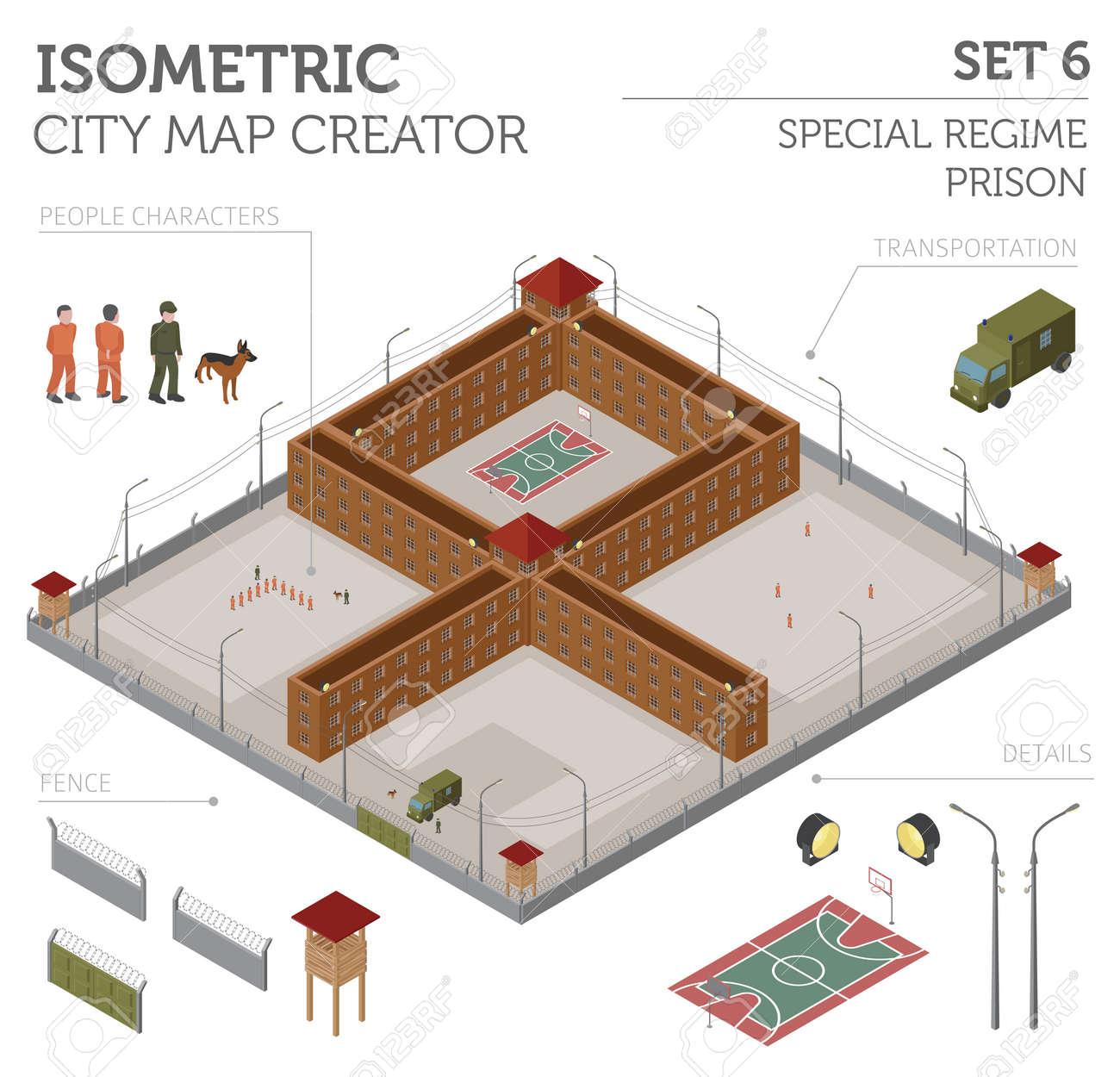Flache Isometrische 3D-Sonderregime Gefängnis, Gefängnis Für ...