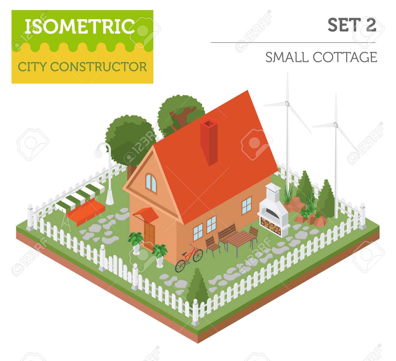 Standard Bild   Wohnung 3d Isometrische Haus Und Stadtplan Konstrukteur  Elemente Wie Gebäude, BBQ, Garten, Natur Isoliert Auf Weiß. Erstellen Sie  Ihre ...