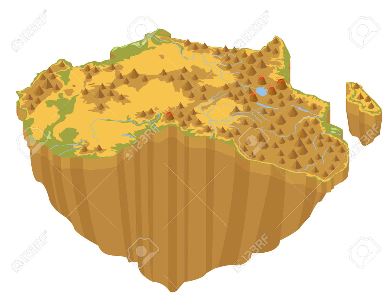 Flat 3d Isometric Africa Map Constructor Elements Isolated On