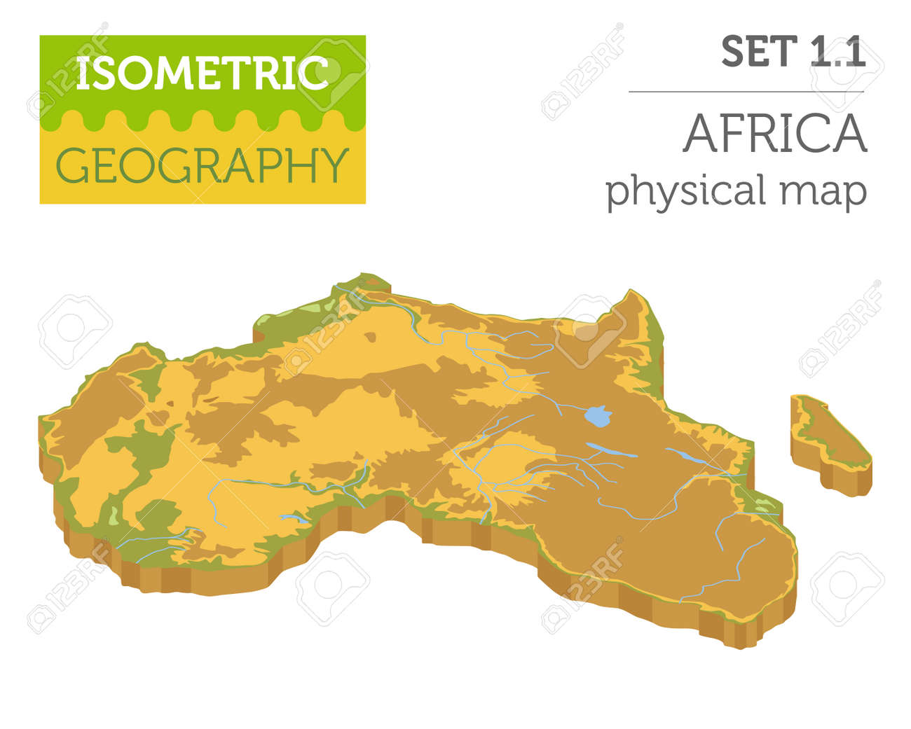 Africa Map Geography.Flat 3d Isometric Africa Map Constructor Elements Isolated On