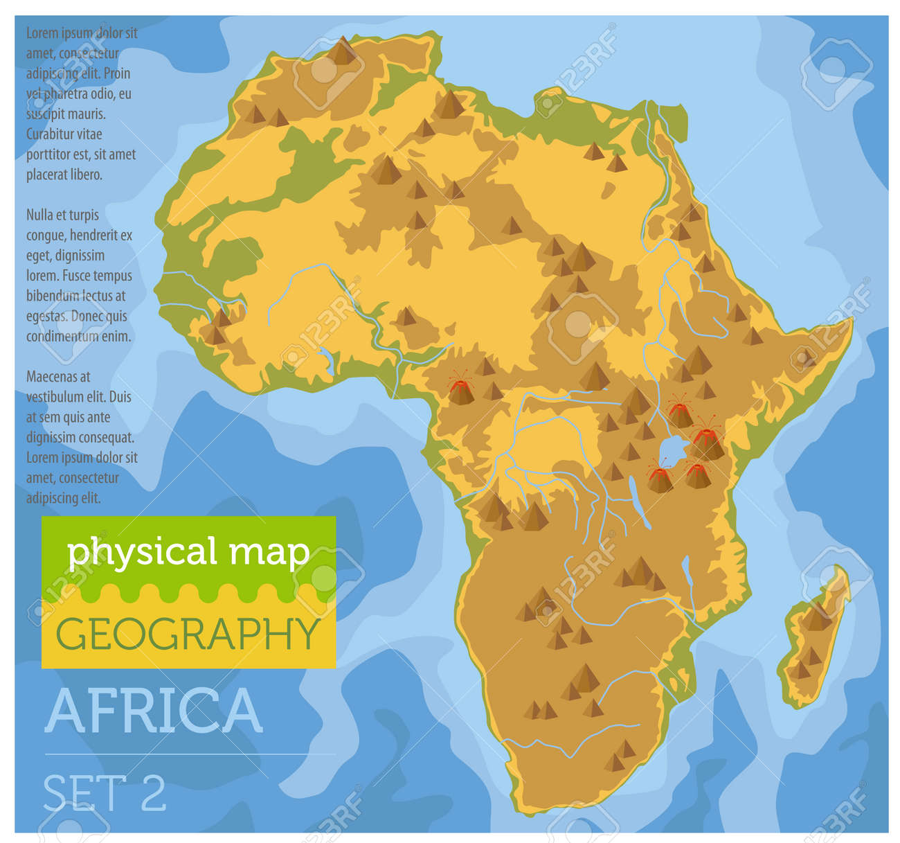 Africa Map Geography.Flat Africa Physical Map Constructor Elements On The Water Surface