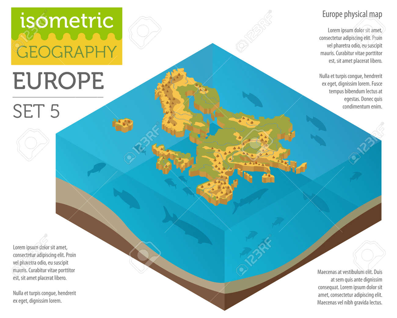 Isometric 3d Europe Physical Map Constructor Elements On The ...
