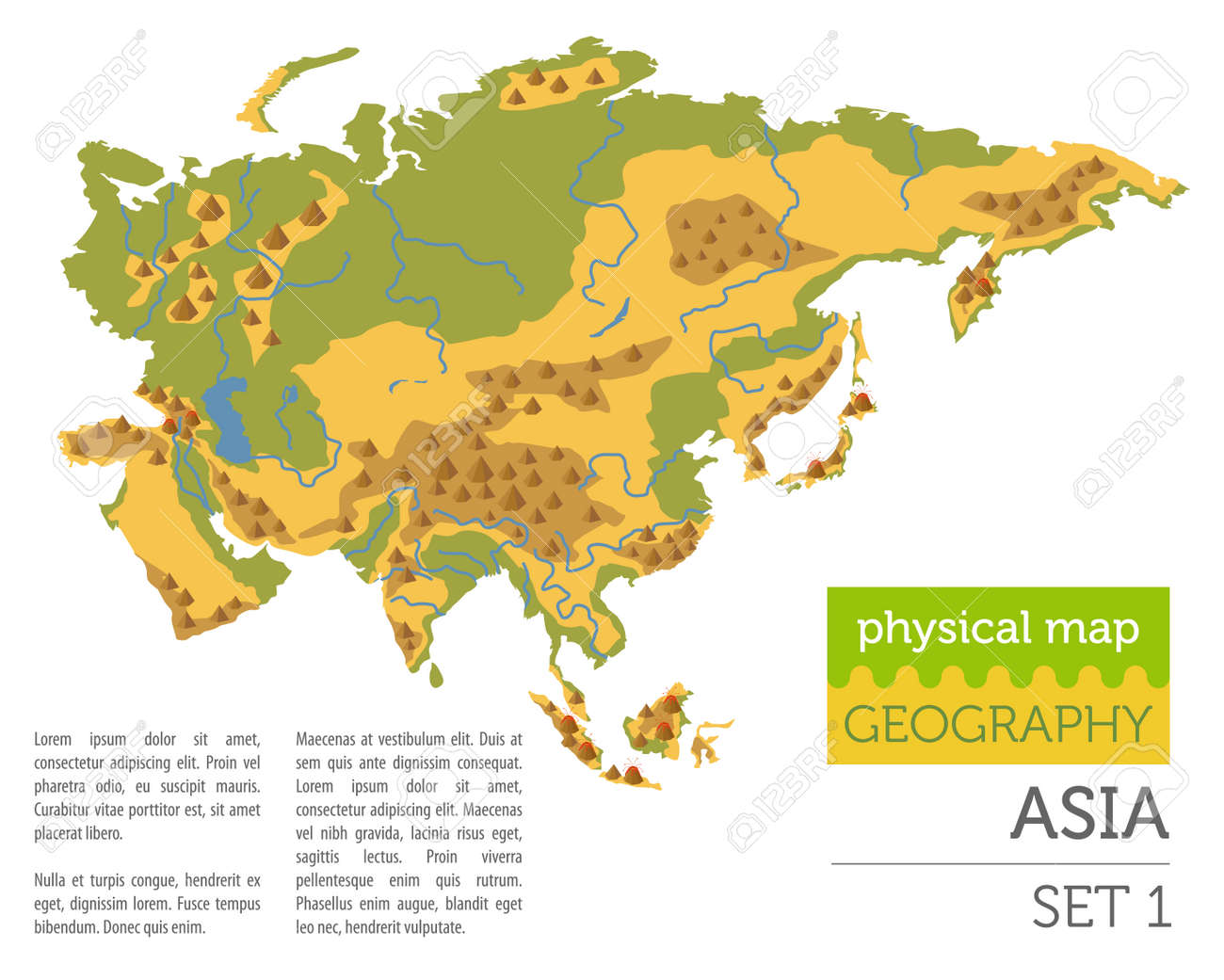 Flat Asia Physical Map Constructor Elements Isolated On White ...