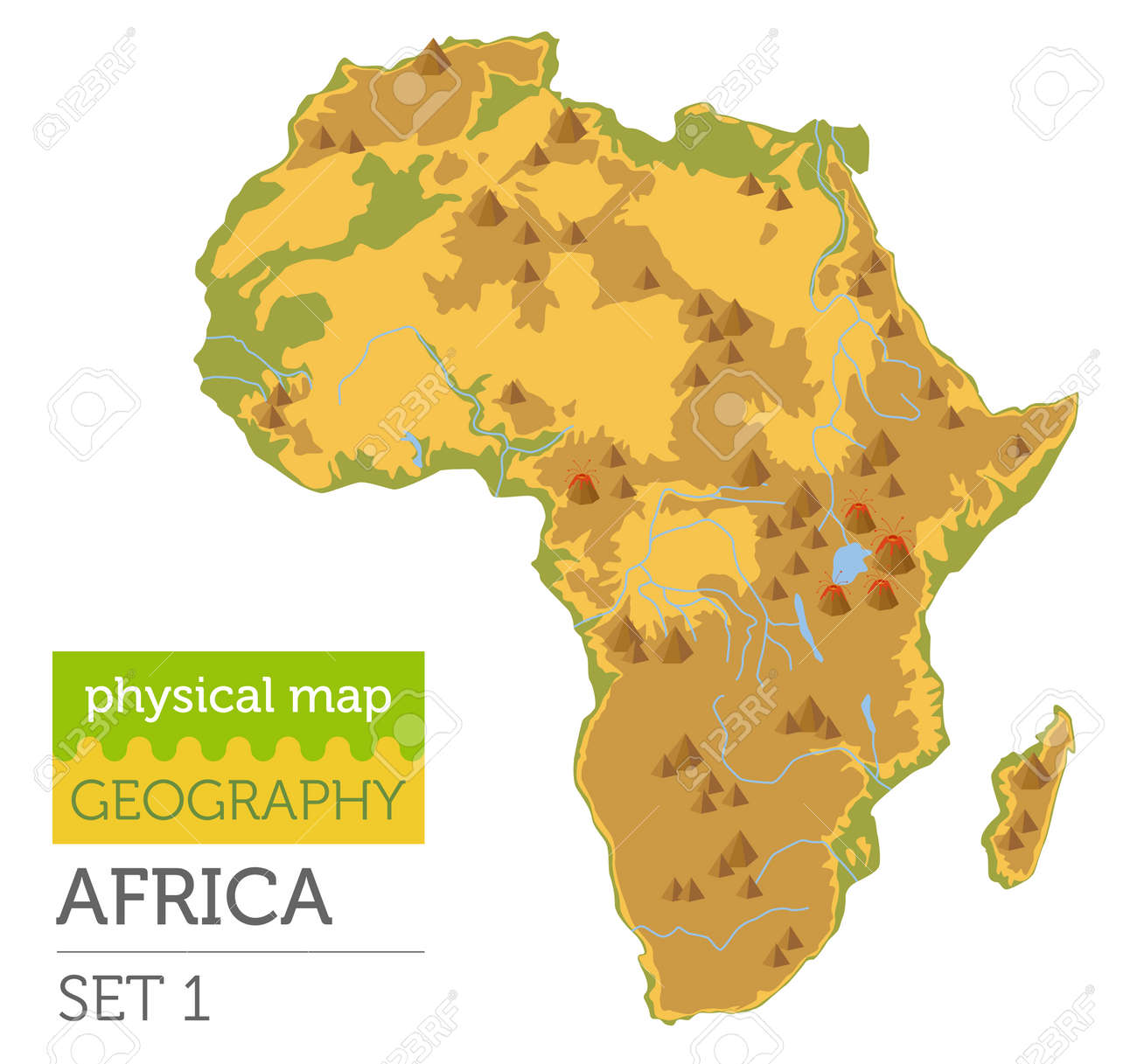 Africa Map Geography.Flat Africa Physical Map Constructor Elements Isolated On White