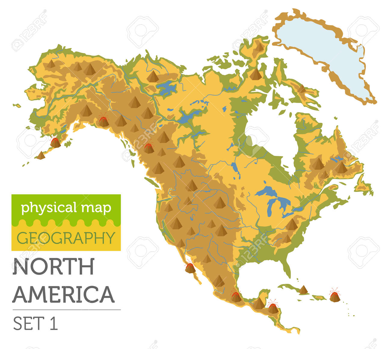 North America physical map elements. Build your own geography..