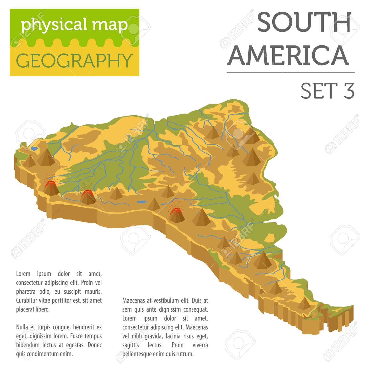 Isometric 3d South America physical map elements. Build your..