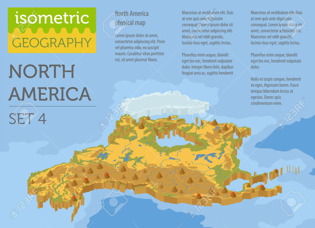 Isometric 3d North America Physical Map Elements. Build Your ...