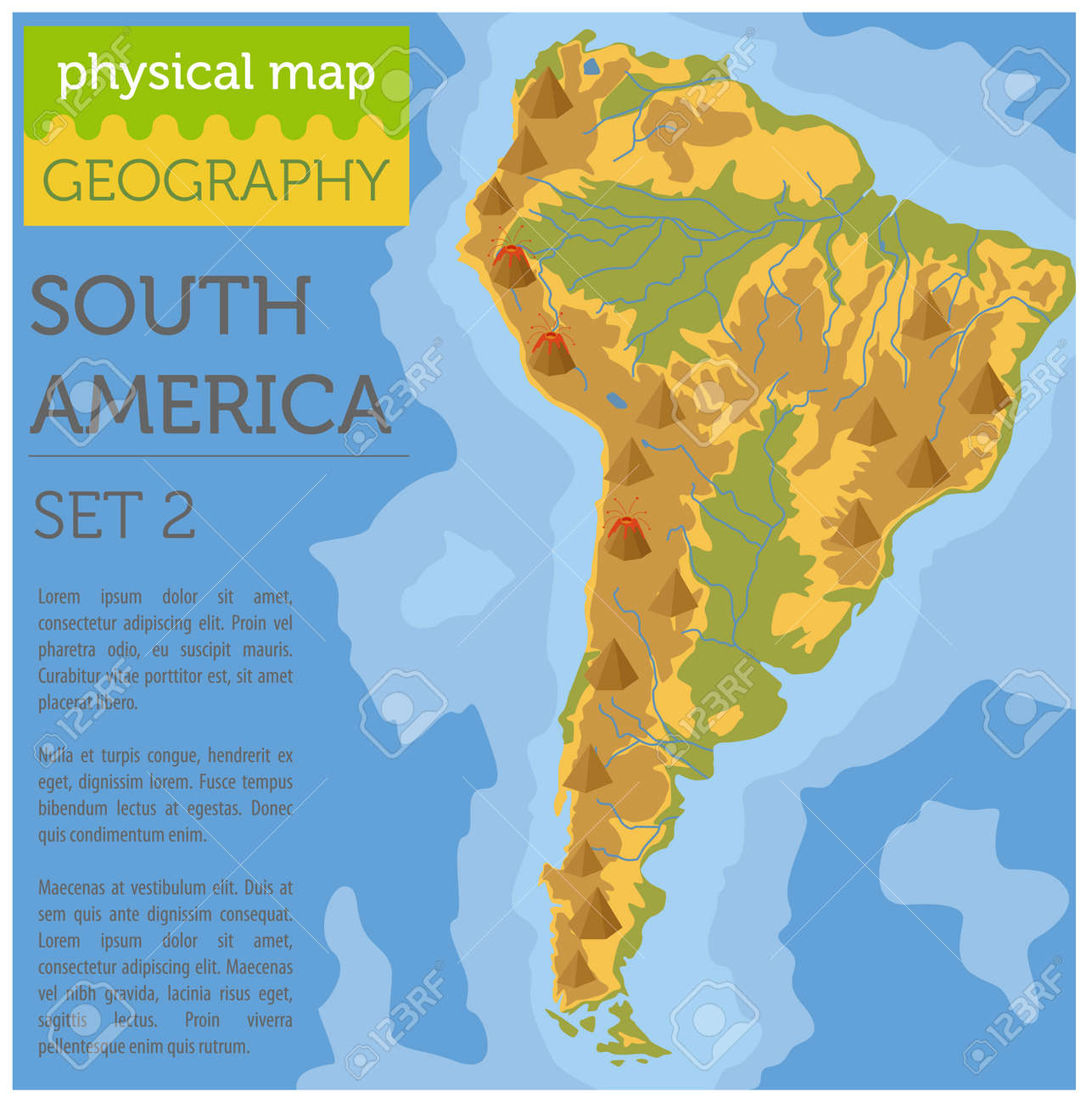 South America physical map elements. Build your own geography.. on countries of south america, languages of south america, major exports of south america, area of south america, geographical features asia, geographical features africa, customs of south america, clothing of south america, physical features of america, geographical map of latin america, mountains in south america, people of south america, industry of south america, rivers of south america, geographic regions of south america, detailed map south america, historic sites of south america, list lakes in south america, roads of south america, physical characteristics of south america,