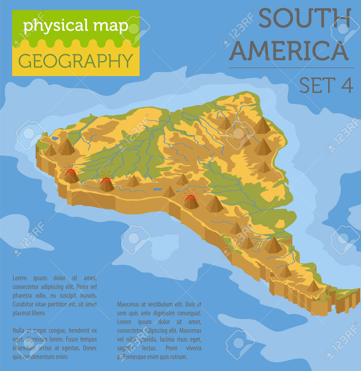 Isometric 3d South America Physical Map Elements. Build Your Own Geography  Info Graphic Collection.