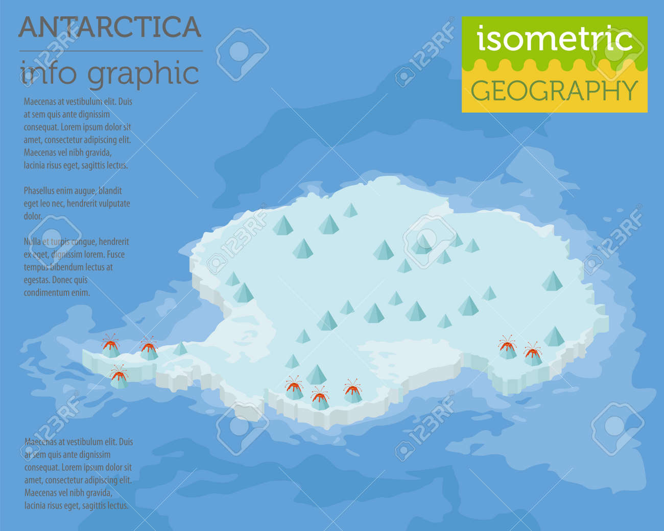 Elementos De Mapa Fisico Isometrico Da Antartida 3d Crie Sua