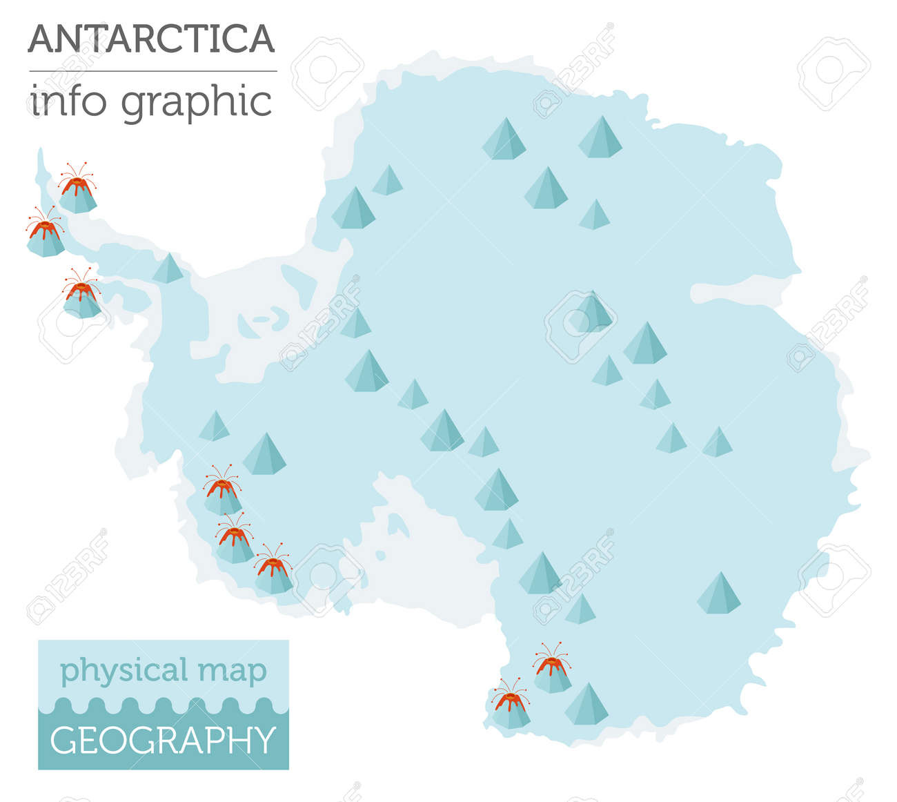 Antarctica Physical Map Elements. Build Your Own Geography Info ...