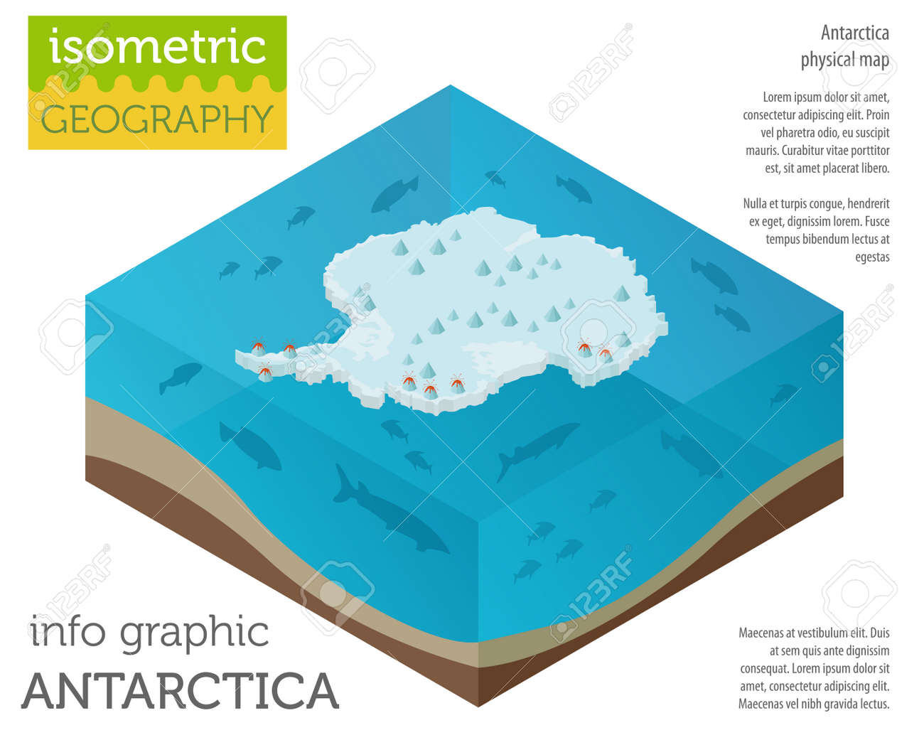 Isometric 3d Antarctica Physical Map Elements. Build Your Own ...