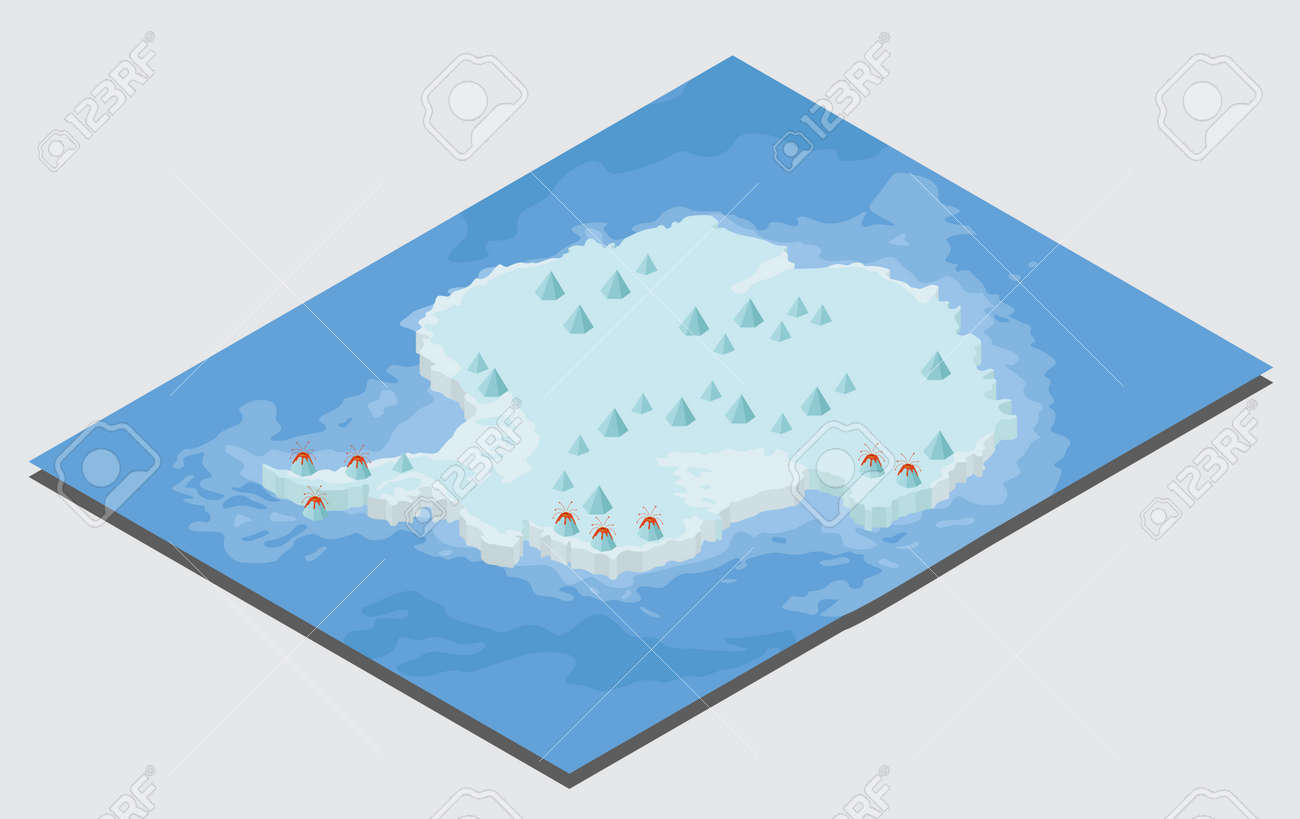 Isometric 3d Antarctica physical map elements. Build your own..