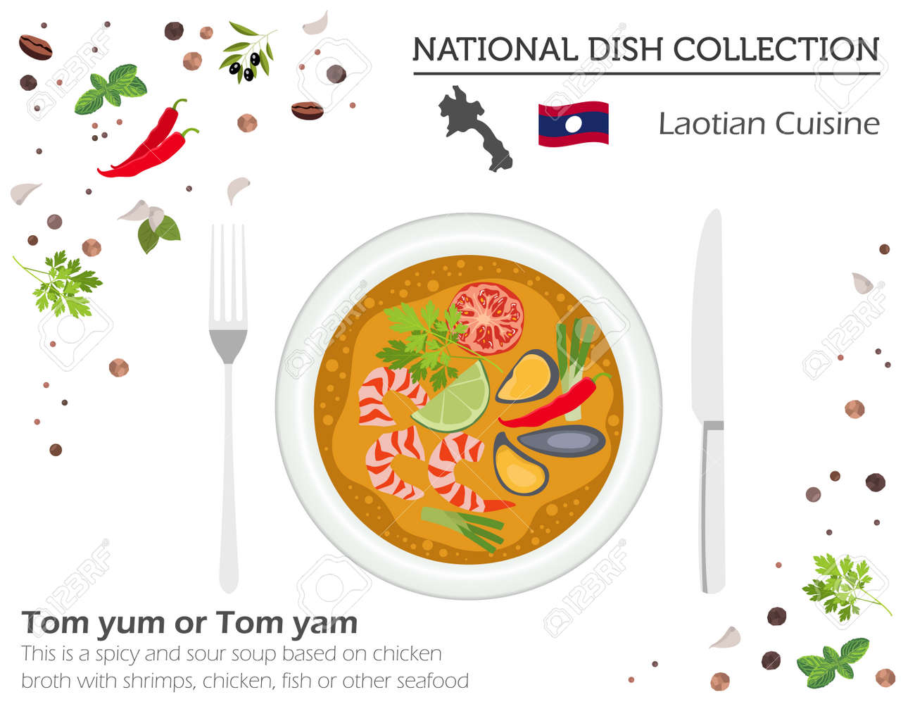 Laotian Cuisine. Asian national dish collection. Tom yum isolated on white, infograpic. Vector illustration - 126893671