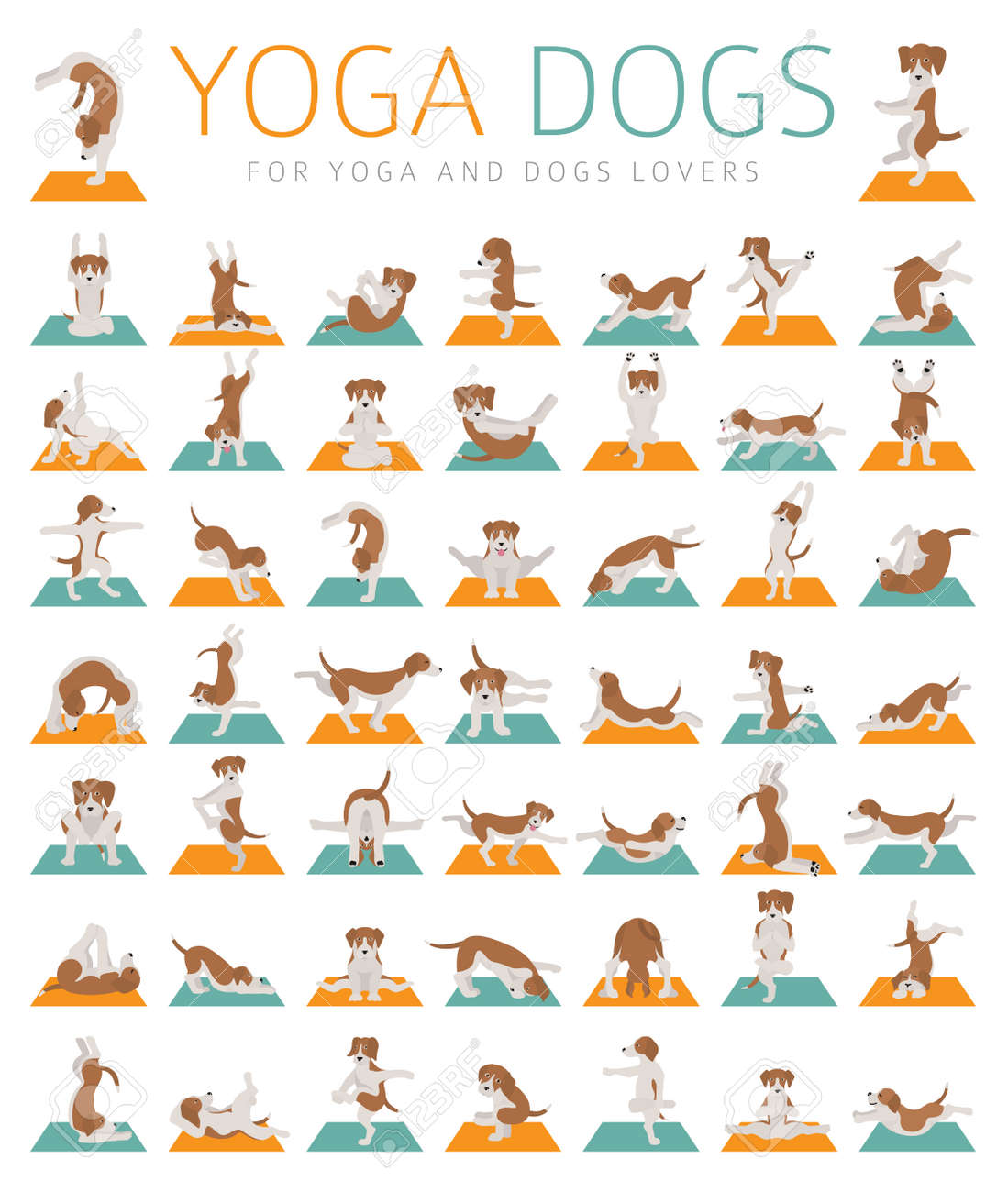 Yoga dogs poses and exercises doing clipart. Funny cartoon poster..