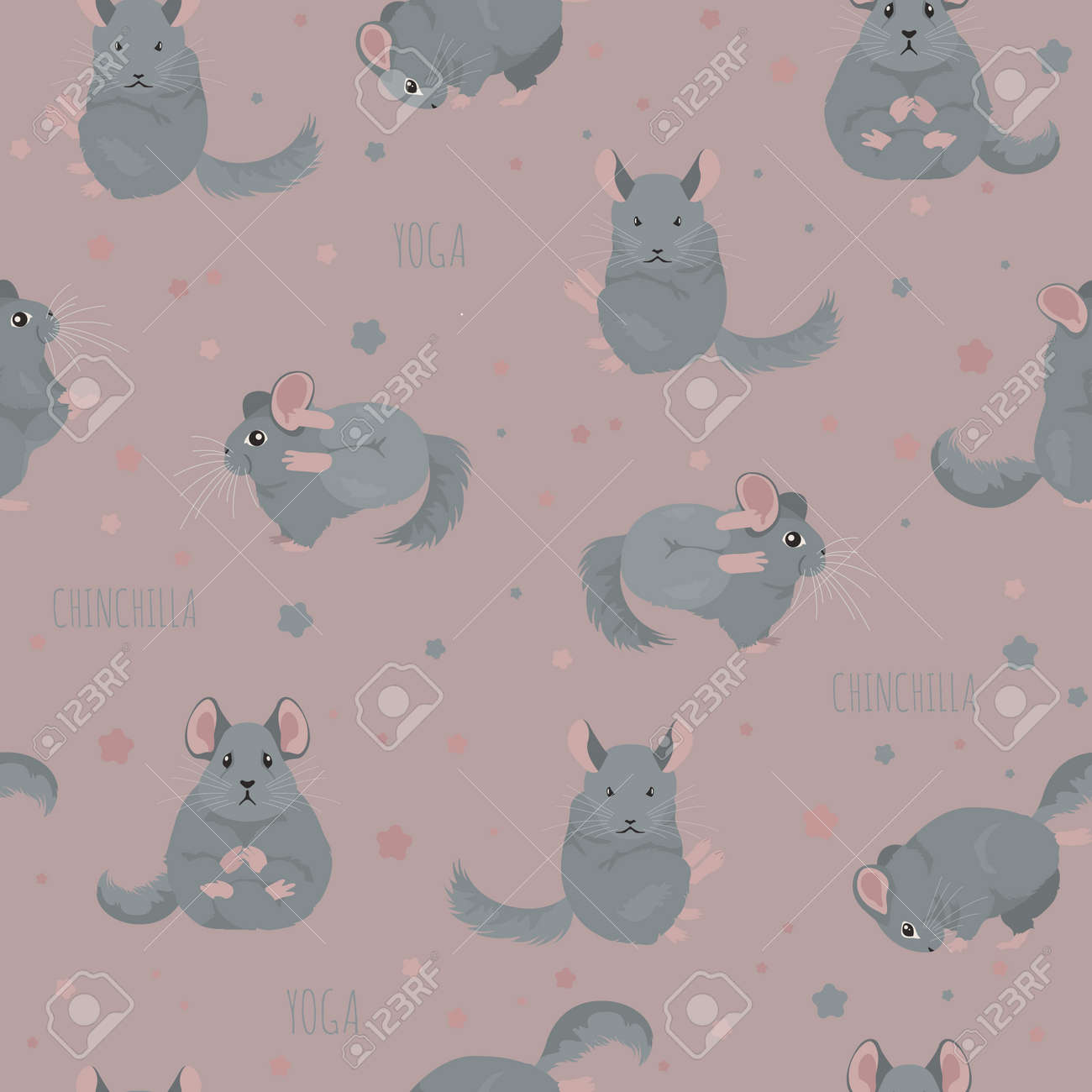 Chinchilla Yoga Poses And Exercises Cute Cartoon Seamless Pattern Royalty Free Cliparts Vectors And Stock Illustration Image 128503337