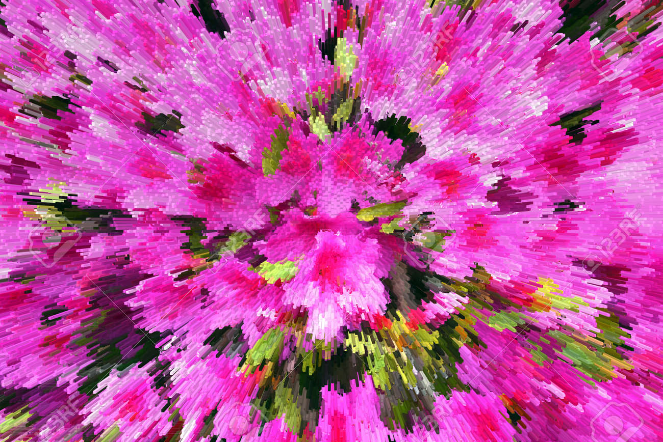 Abstraction Beautiful Of Stylized Tropical Pink Flowers Stock Photo