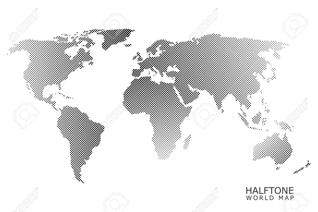 Halftone dotted vector world map in black color with white halftone dotted vector world map in black color with white background stock vector 78697952 gumiabroncs Image collections