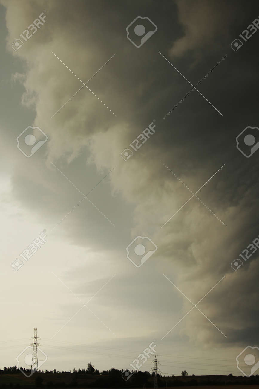 Approaching stormy clouds above the small town Swiebodzice in Poland Stock Photo - 16758516