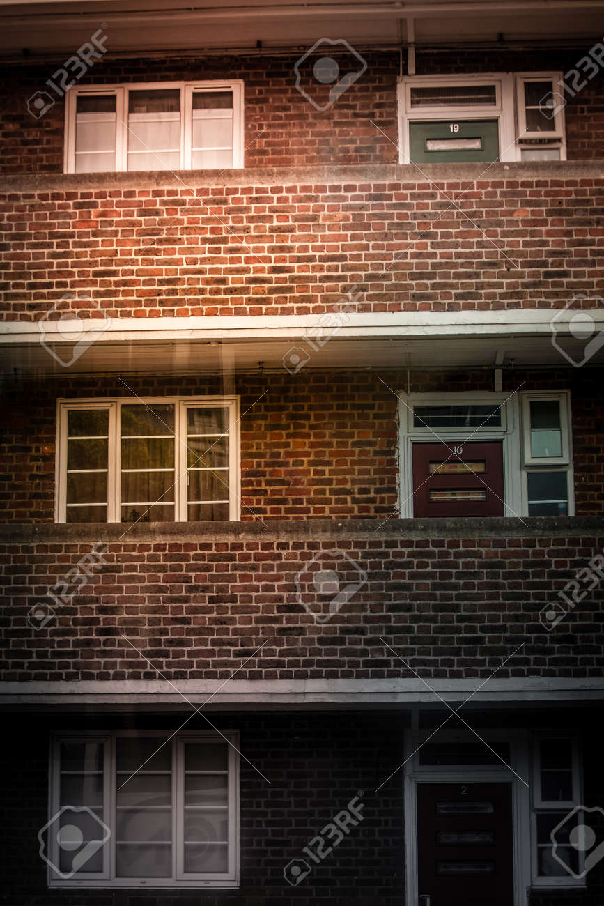 Stock Photo - Windows and doors of a council flats in London in the morning & Windows And Doors Of A Council Flats In London In The Morning Stock ...