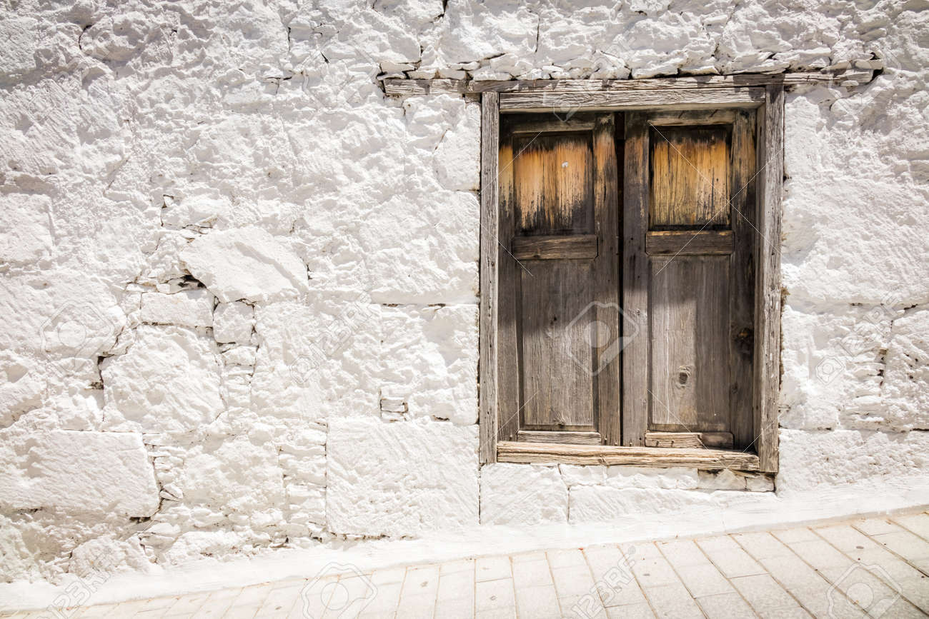 Wooden Window In One Of The Homes In Fataga In Gran Canaria Canary ...