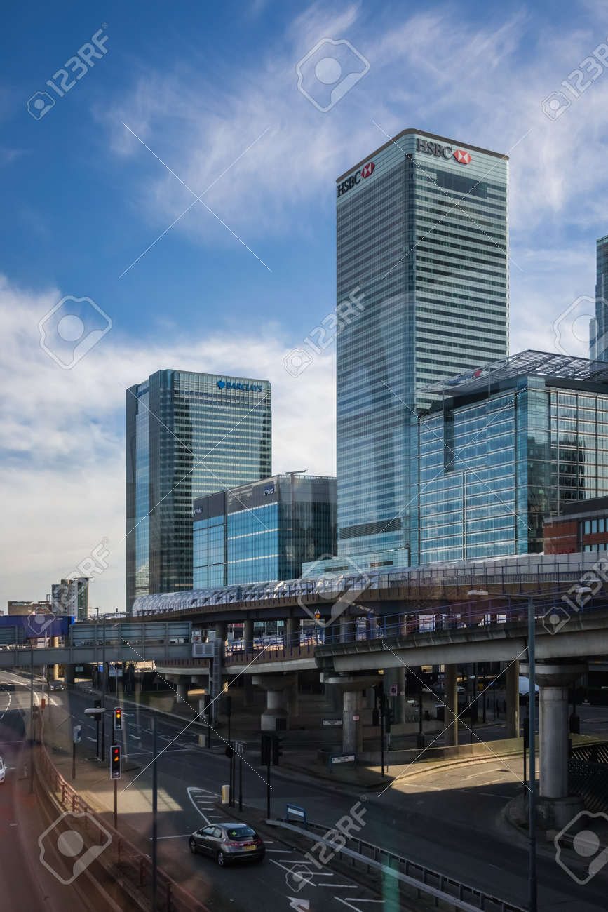 London, England - 25 March 2017 : HSBC and Barclays headquarters