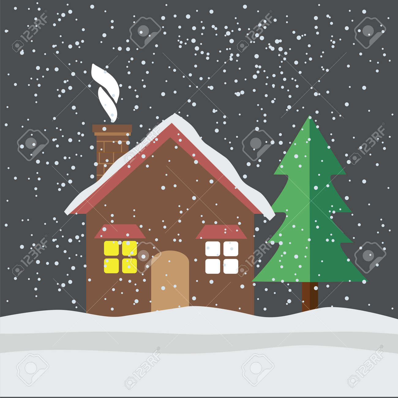 Banque dimages maison sous la neige plate icône illustration