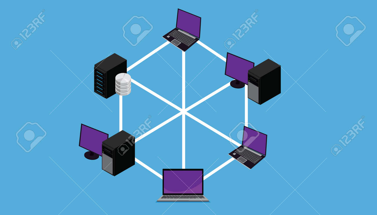 Network Connection Lan Wan Topology Vector Illustration Royalty Free ...