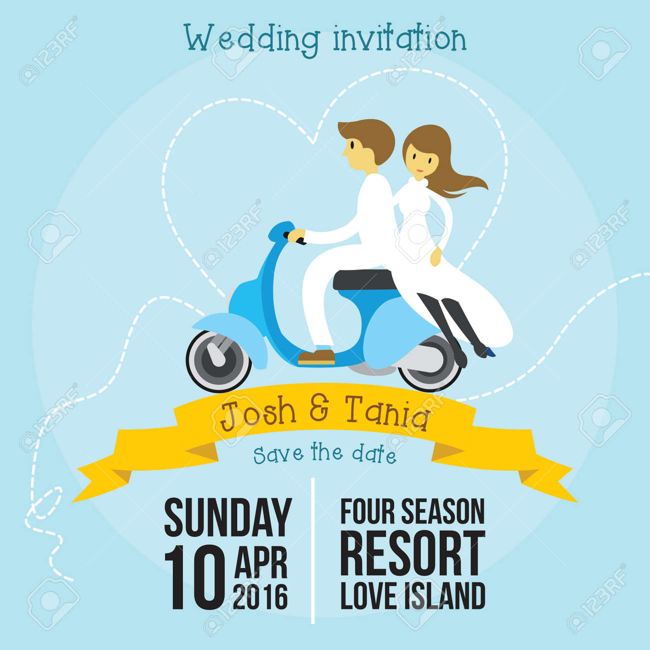 Cute Wedding Invitation Cartoon Style Template With Soft Blue