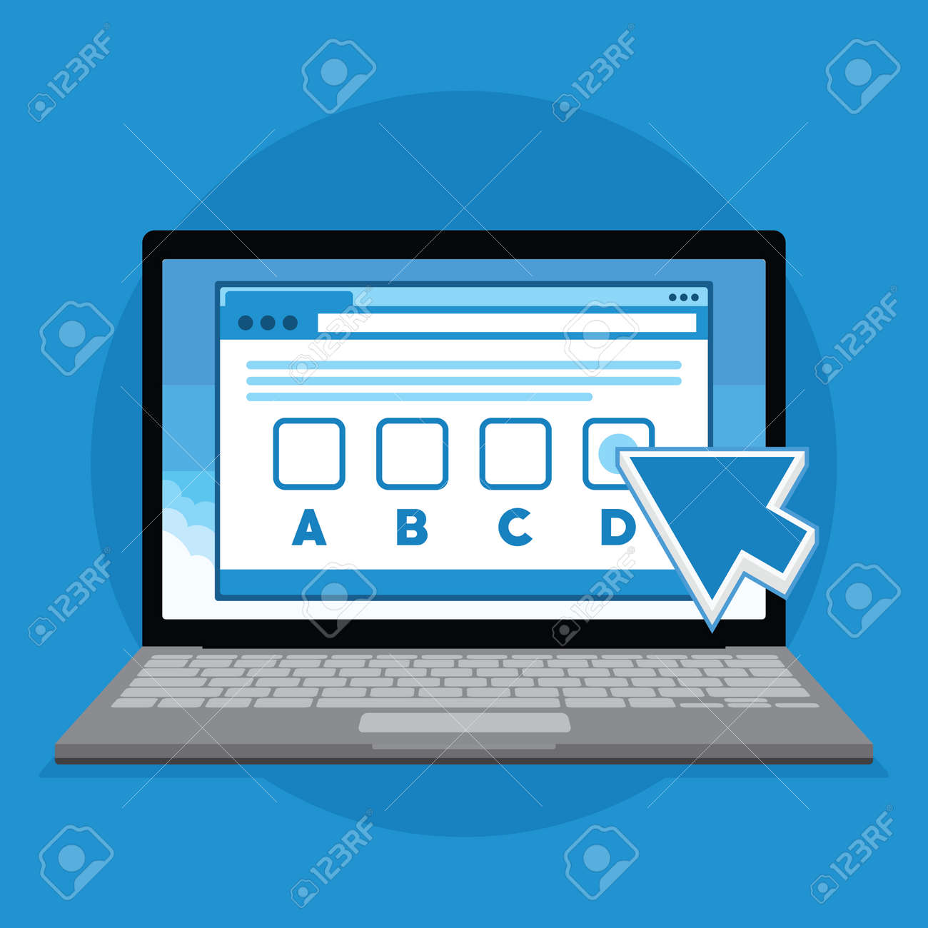 Online Exam Test With Laptop Illustration Royalty Free Cliparts Vectors And Stock Illustration Image 71735652