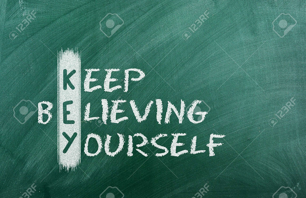 Acronym of KEY  Believe in yourself written in chalk on a blackboard Stock Photo - 13966123