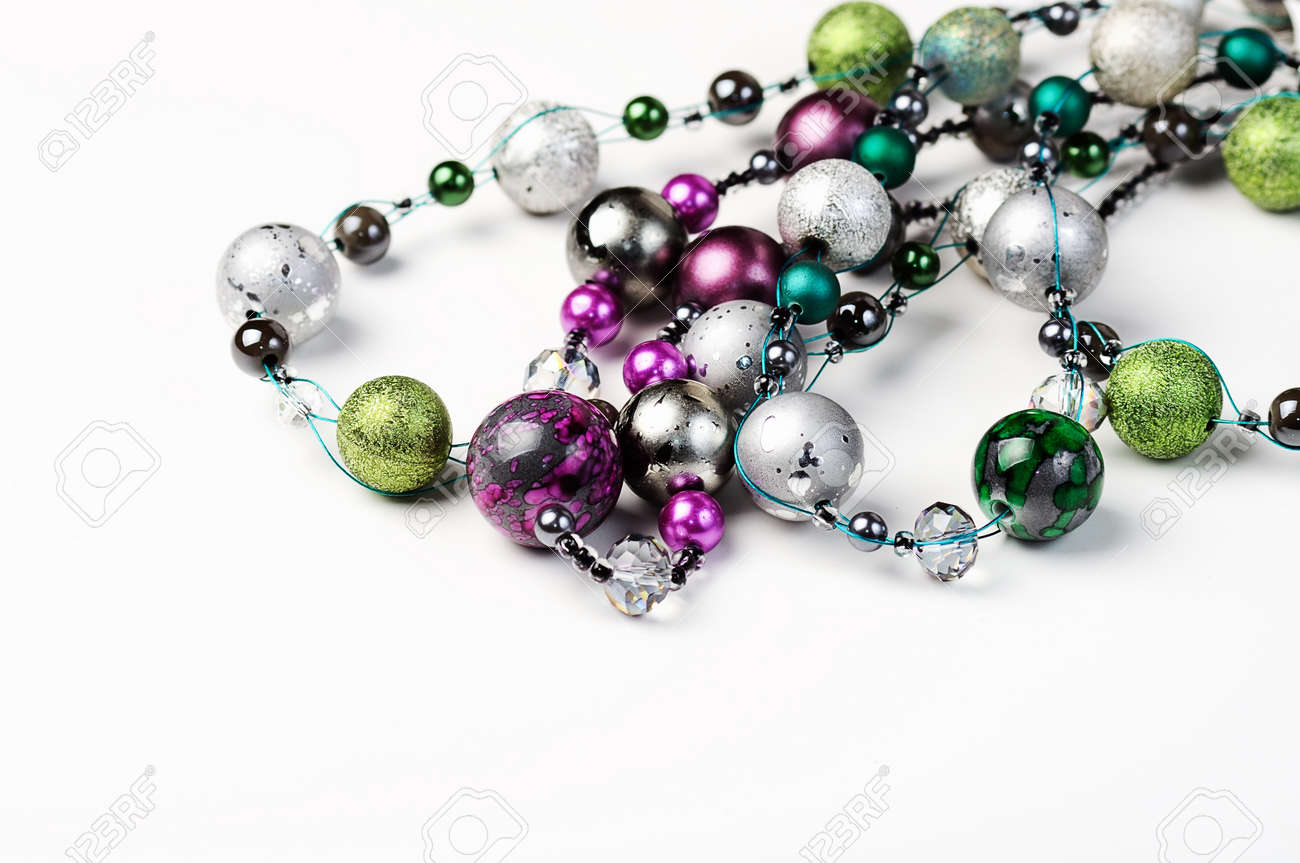 Beautiful necklace closeup on white background and space for text - 18152969
