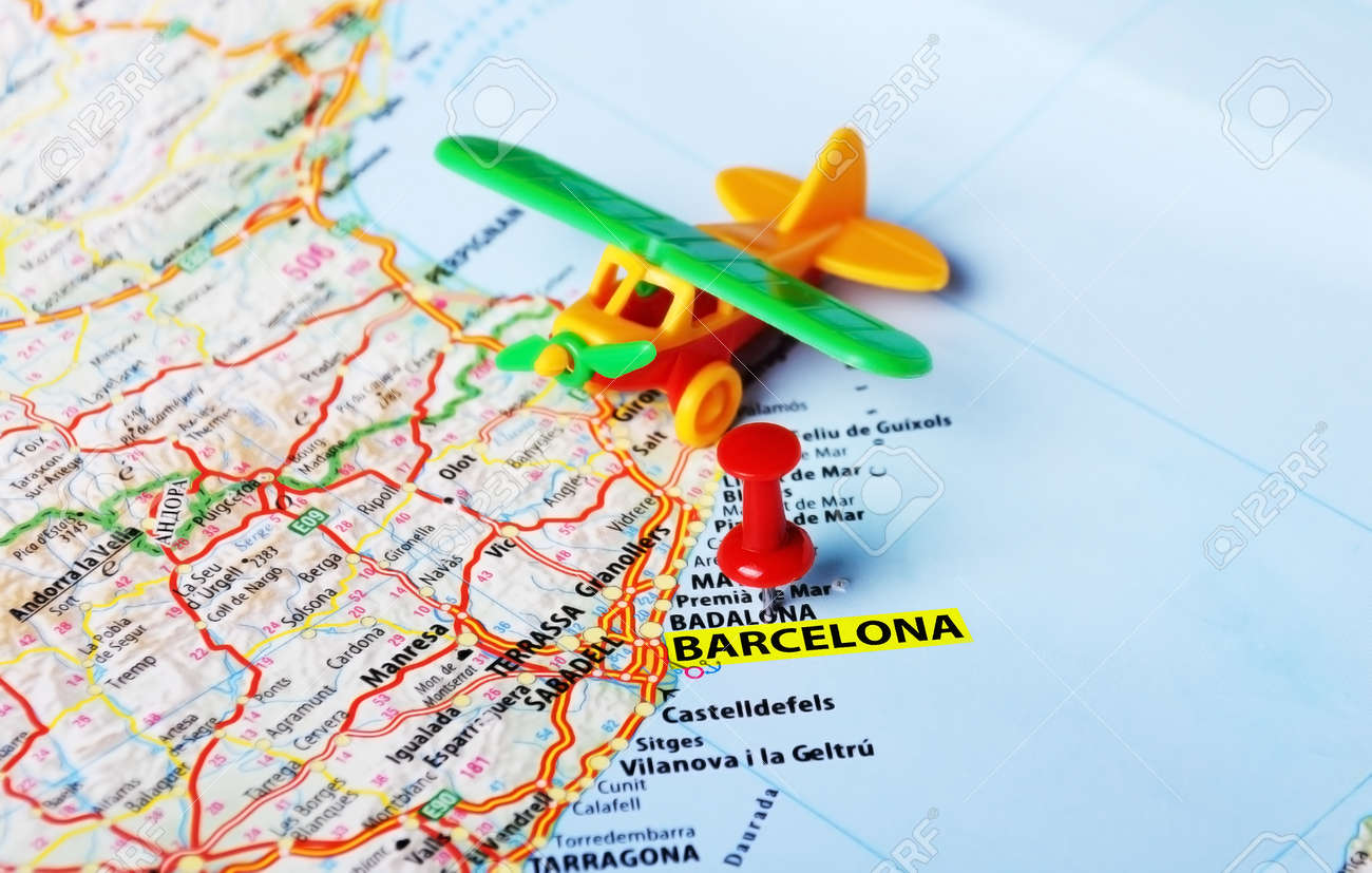 Travel Map Of Spain.Airplane Toy On Barcelona Spain Map And Red Pin Travel Concept