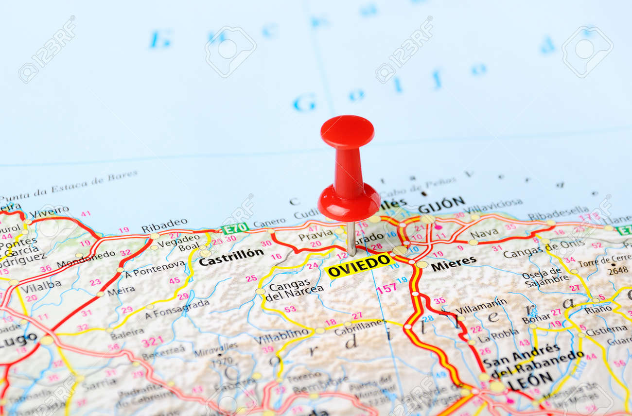 Oviedo Spain Map And Pin Travel Concept Stock Photo Picture And