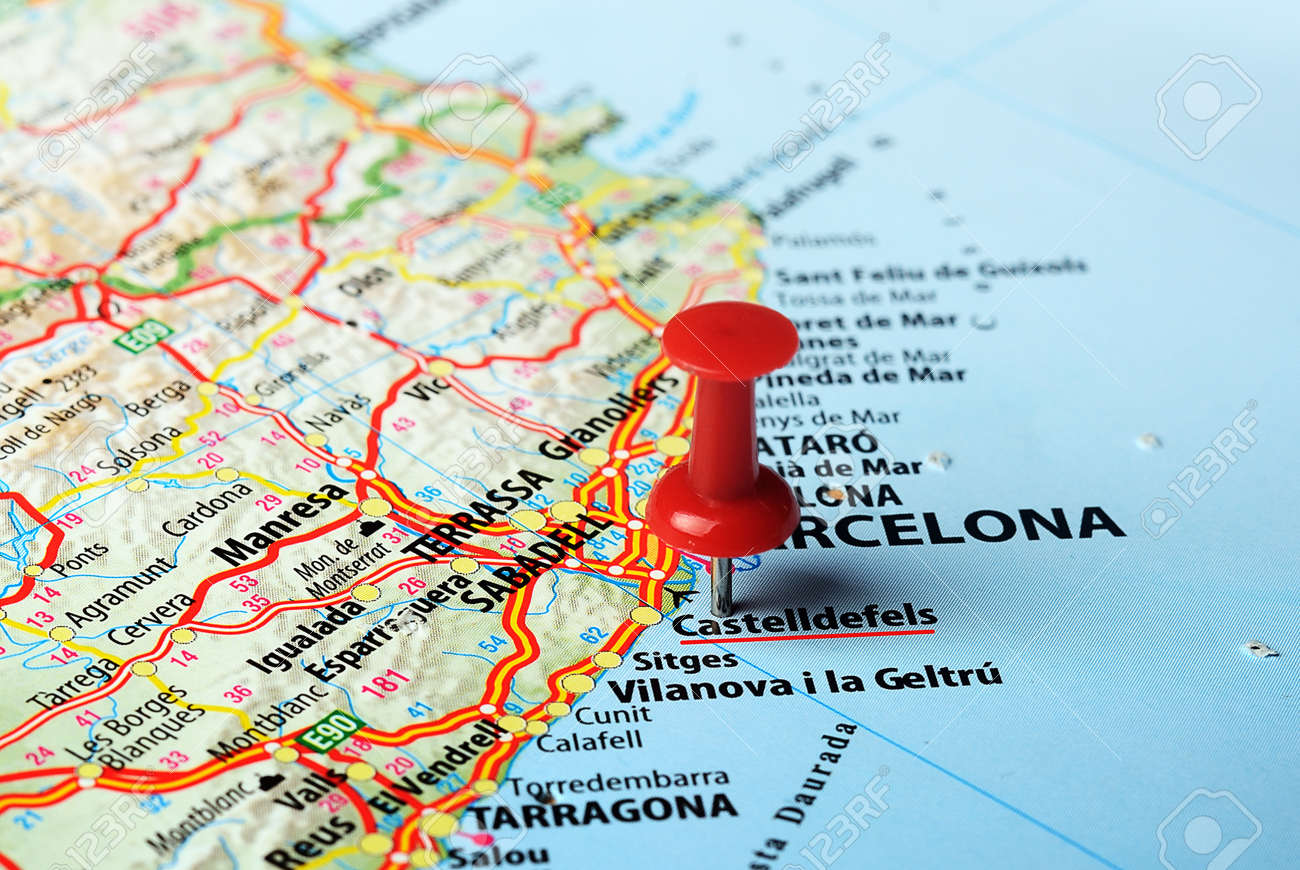 Close Up Of Castelldefels Spain Map And Red Pin Travel Concept – Travel Pin Map Online