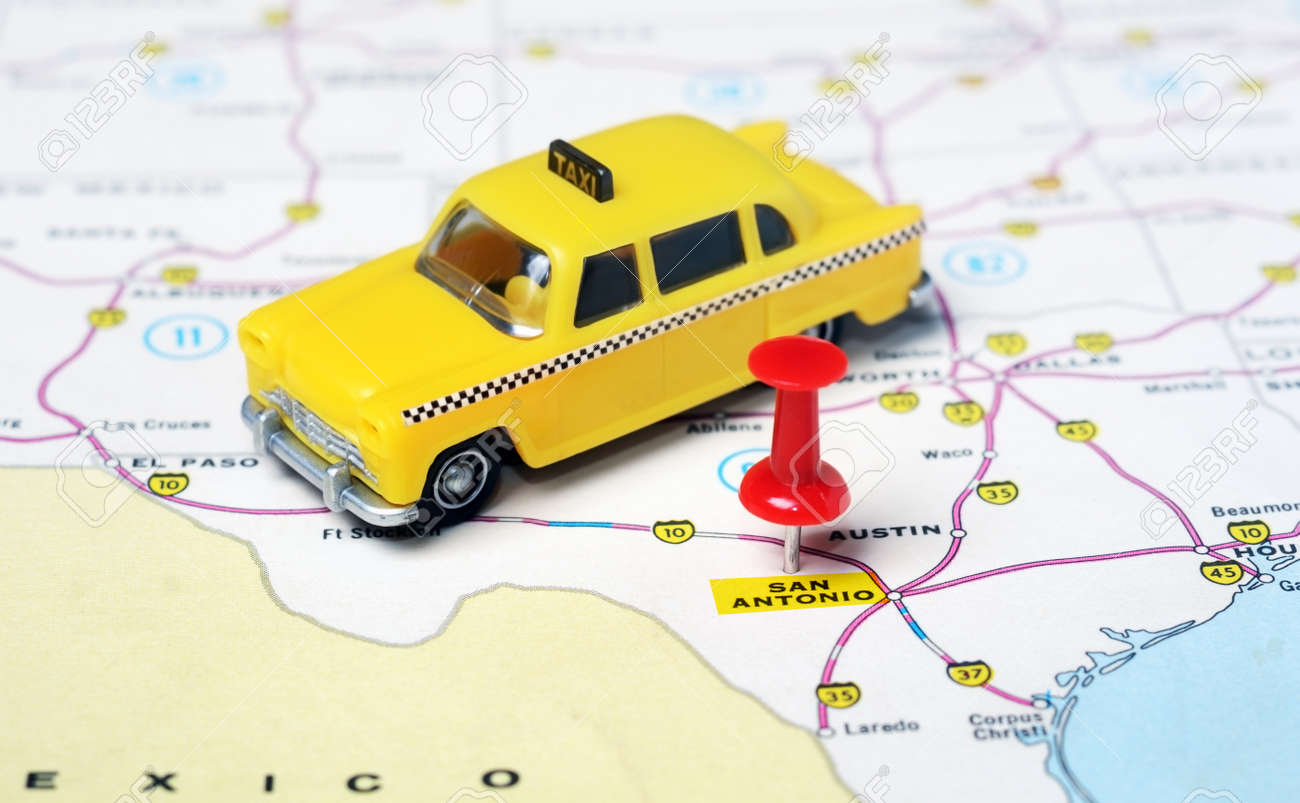 Taxi San Antonio >> Close Up Of San Antonio Texas Usa Map With Red Pin And Taxi