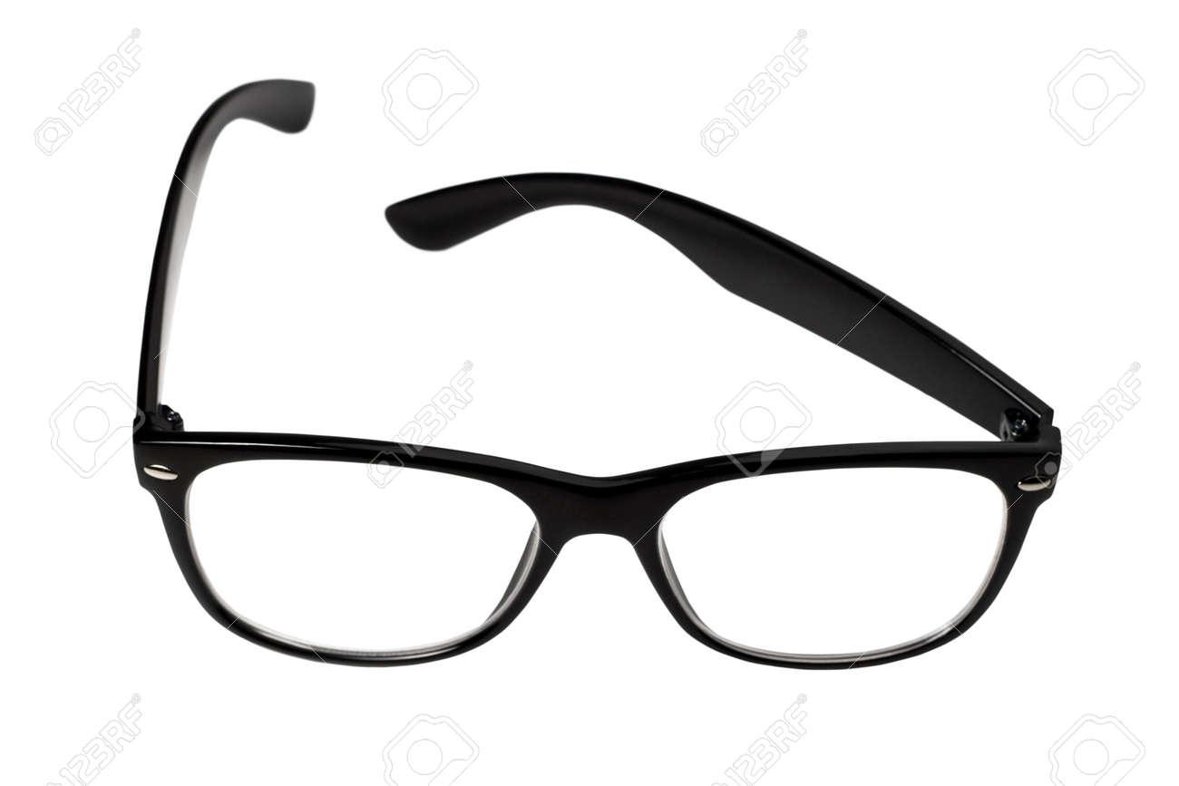 black eye glasses isolated on white background Stock Photo - 17664736