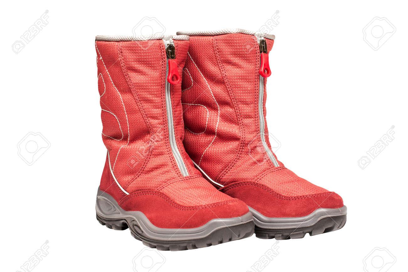 linda ropa deportiva de alto rendimiento 2019 profesional S de dos niños botas impermeables rojos sobre un fondo blanco