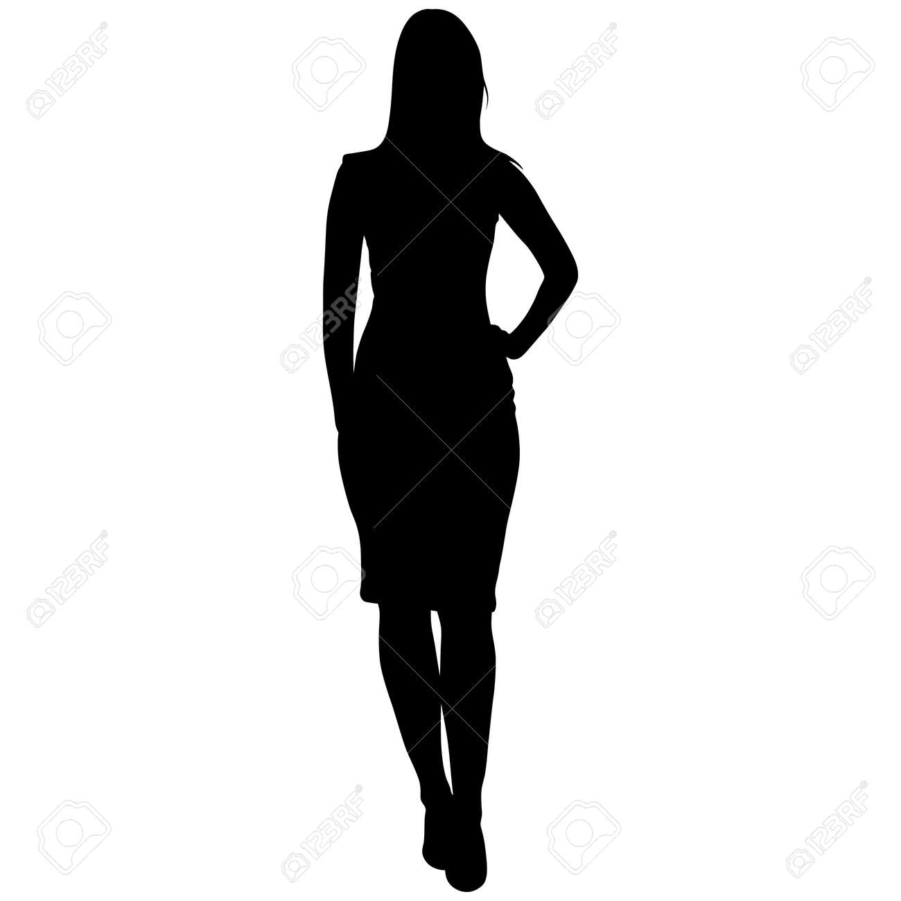 silhoutte of standing woman - 150358768