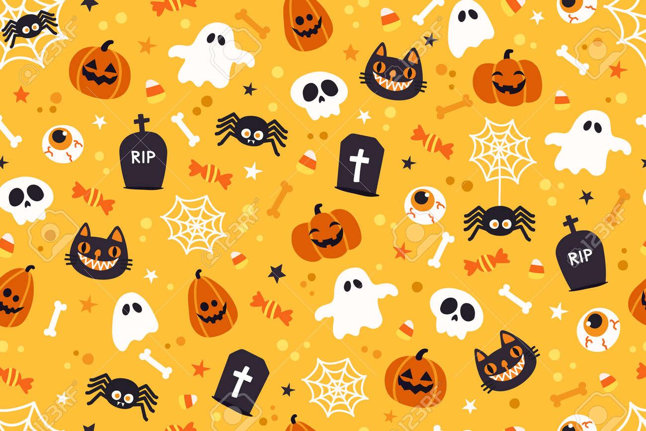 Halloween cute pattern background.