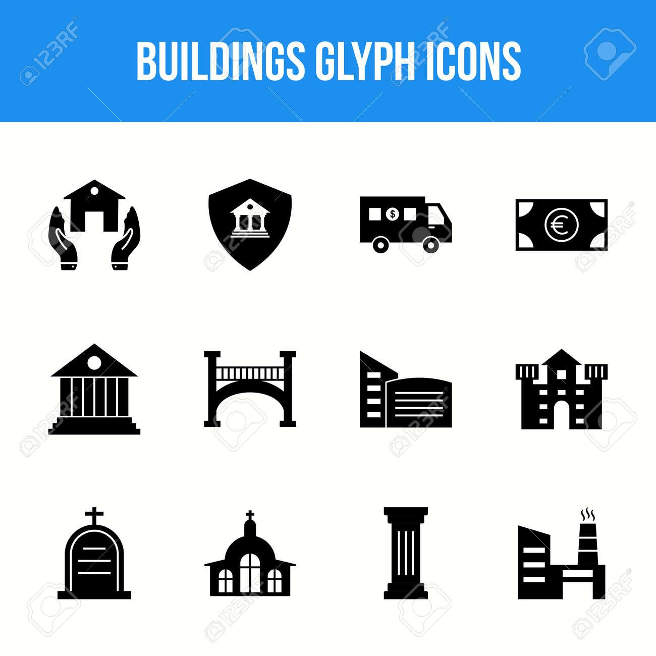 Unique Buildings Glyph icon set - 153885740