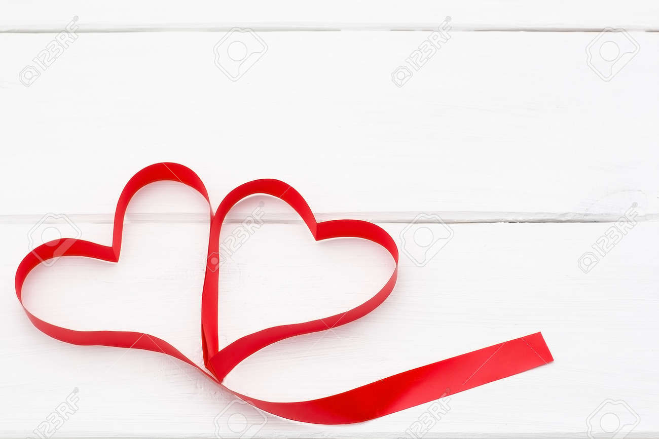 Red Hearts With Ribbon On White Wooden Background Romantic Love