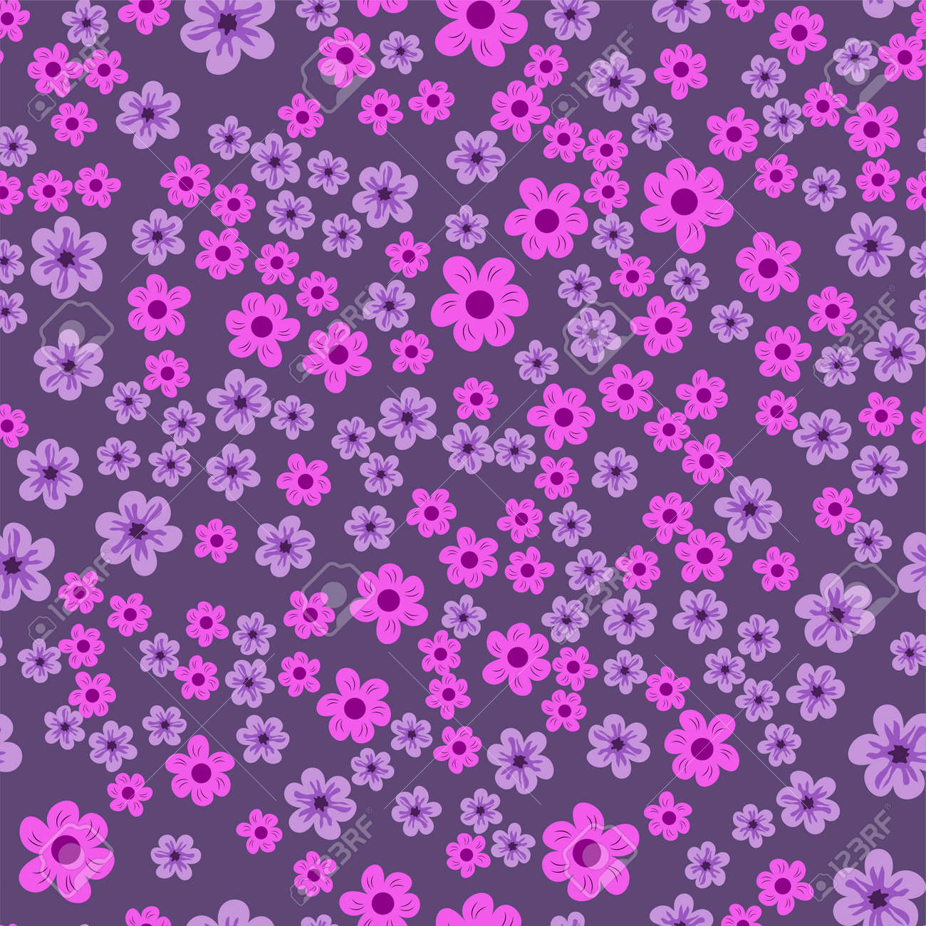 Abstract Seamless Pattern Of Flowers On A Purple Background